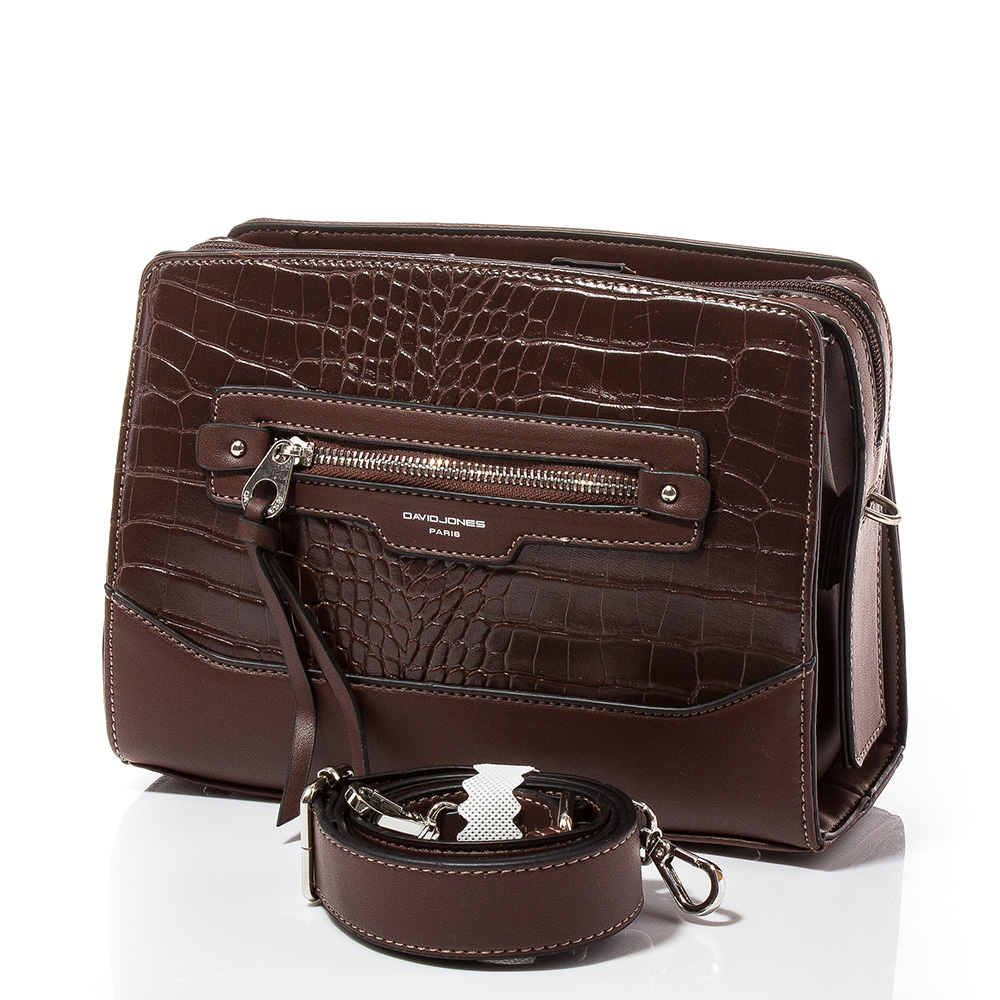 Дамска чанта през рамо David Jones 6108-115 - Тъмнокафява