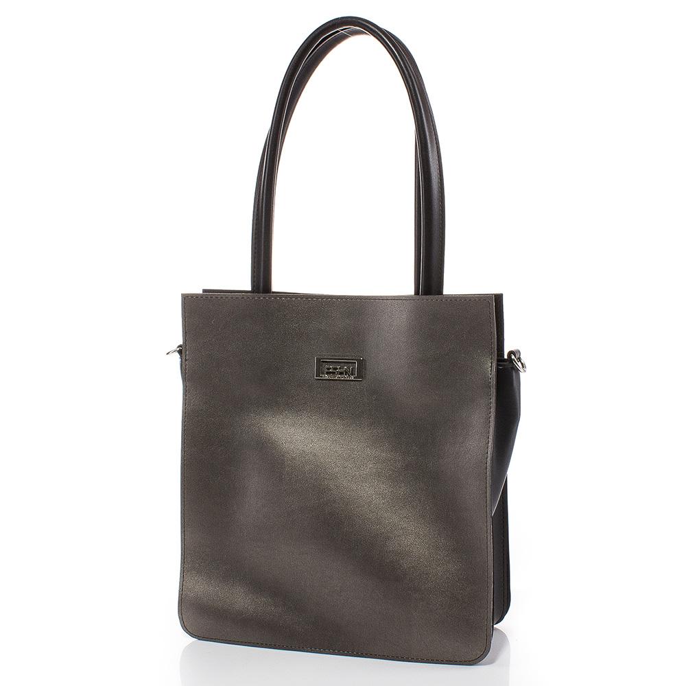 Дамска чанта Искра 1579-4708 - Тъмно сребро/Черен