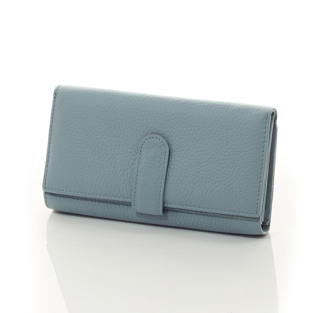 Дамско Портмоне Естествена Кожа А1017-50 - Бледо-синьо