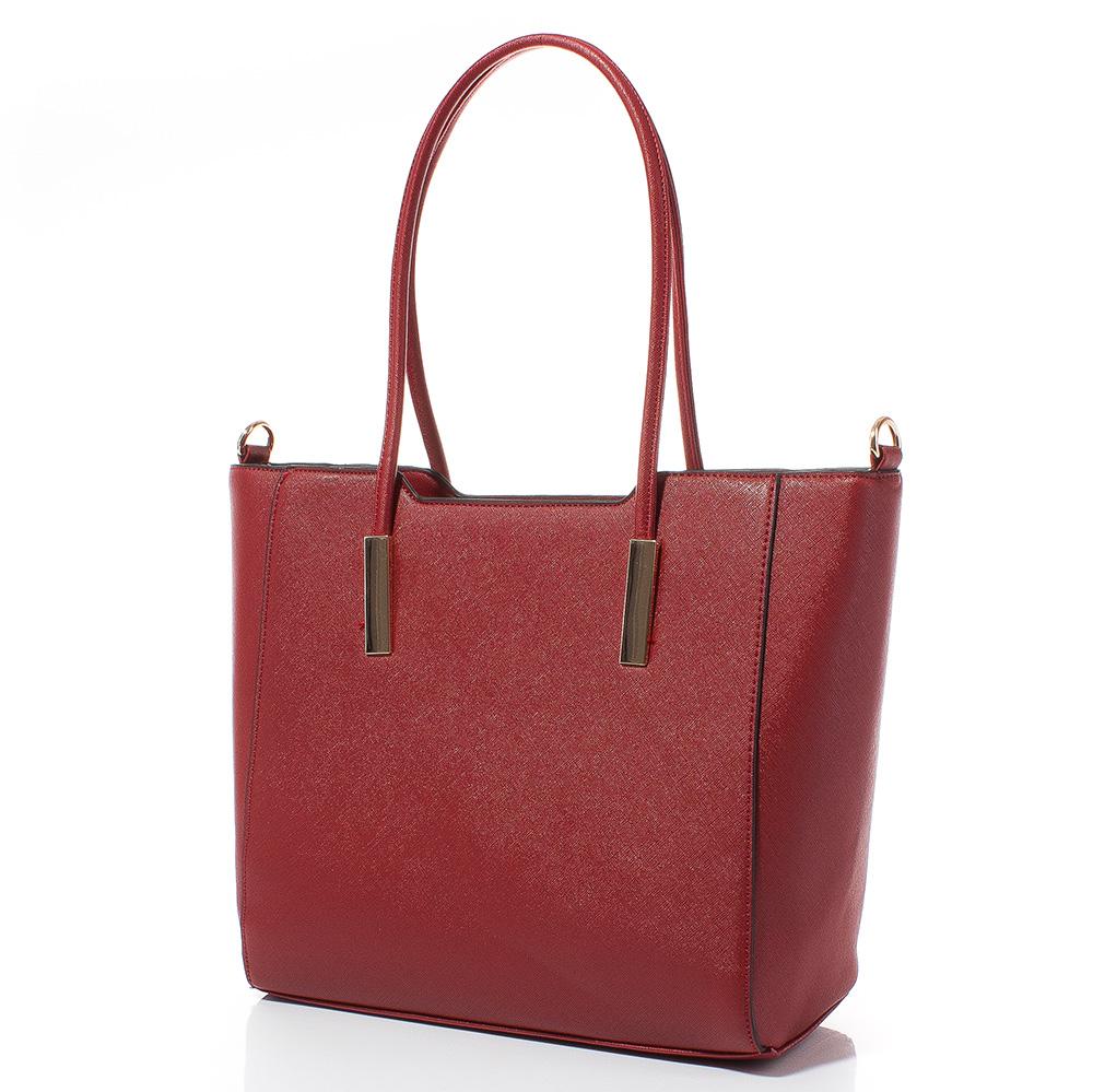 Дамска чанта Лорен Голяма 1607L-40 - Тъмночервена