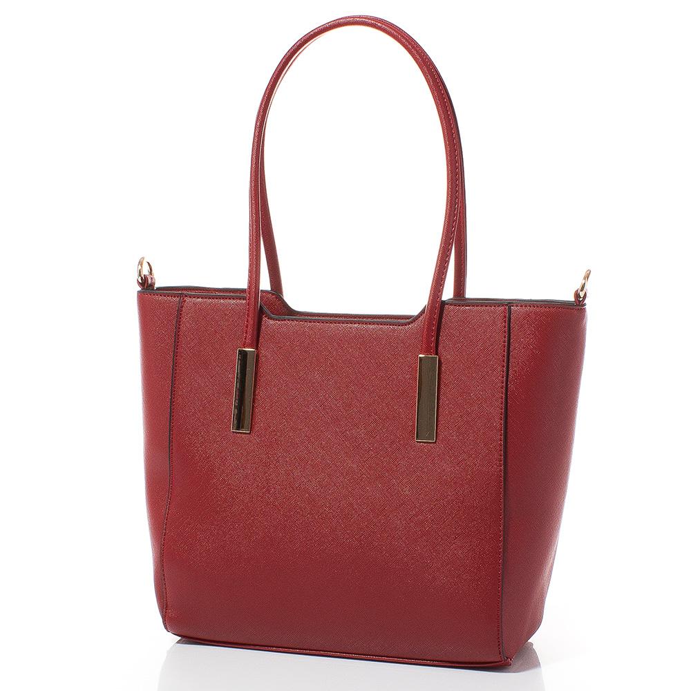 Дамска чанта Лорен Средна 1607M-40 - Тъмночервена