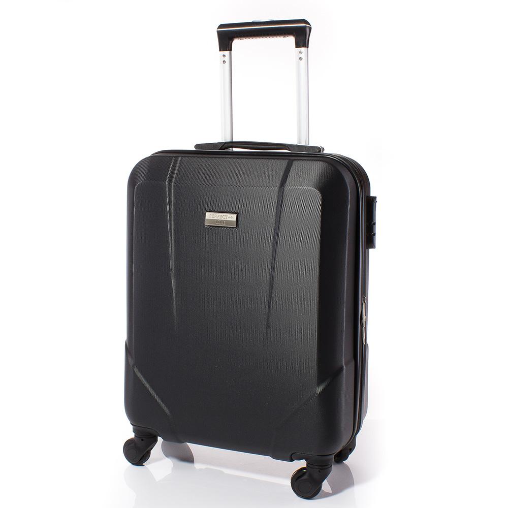 Куфар за ръчен багаж 54/37/20 с колелца 360° T1001-08 - Черен