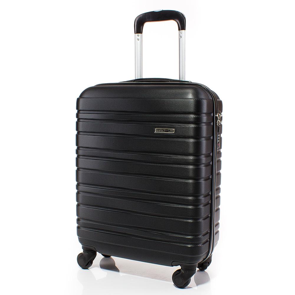 Куфар за ръчен багаж 54/39/20 с колелца 360° T1002-08 - Черен