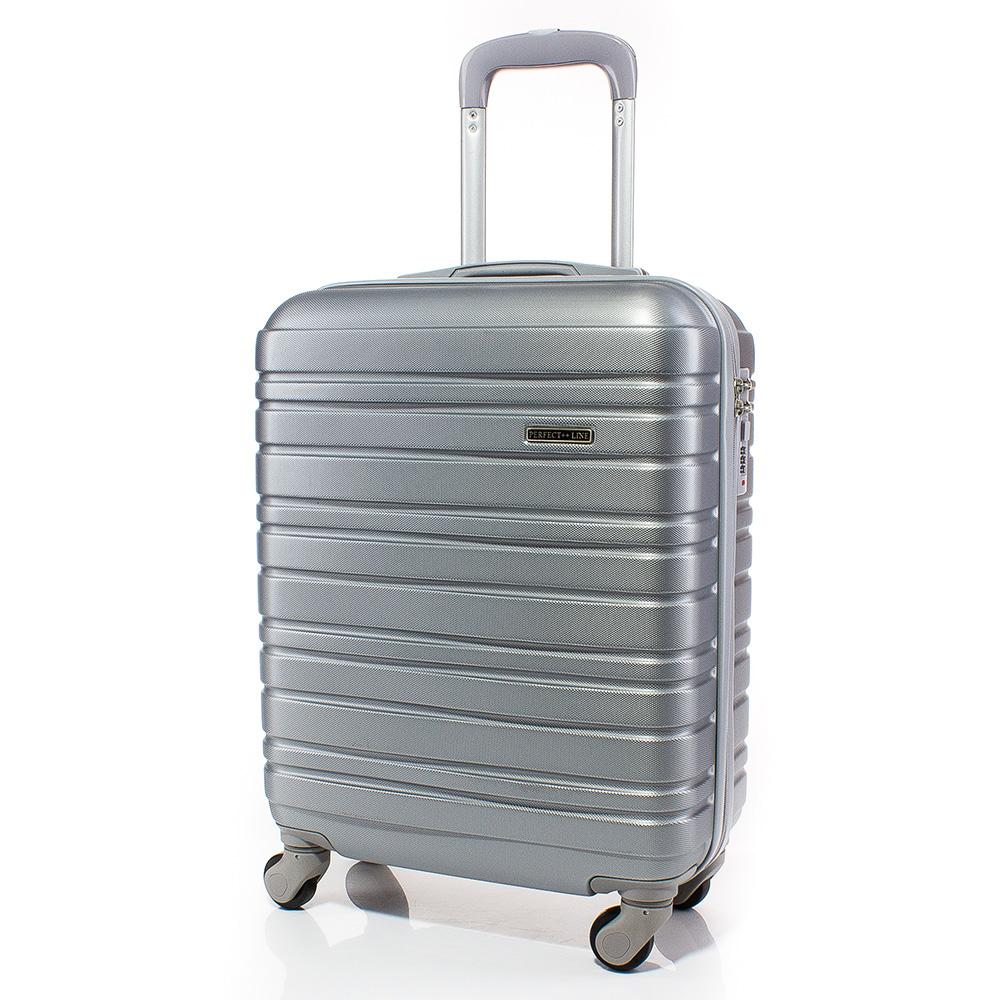 Куфар за ръчен багаж 54/39/20 с колелца 360° T1002-11 - Сребрист