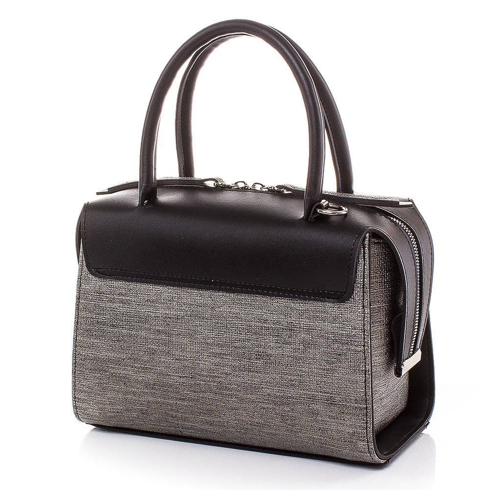 Дамска чанта Инес 1635-0802 - Черна/Сива