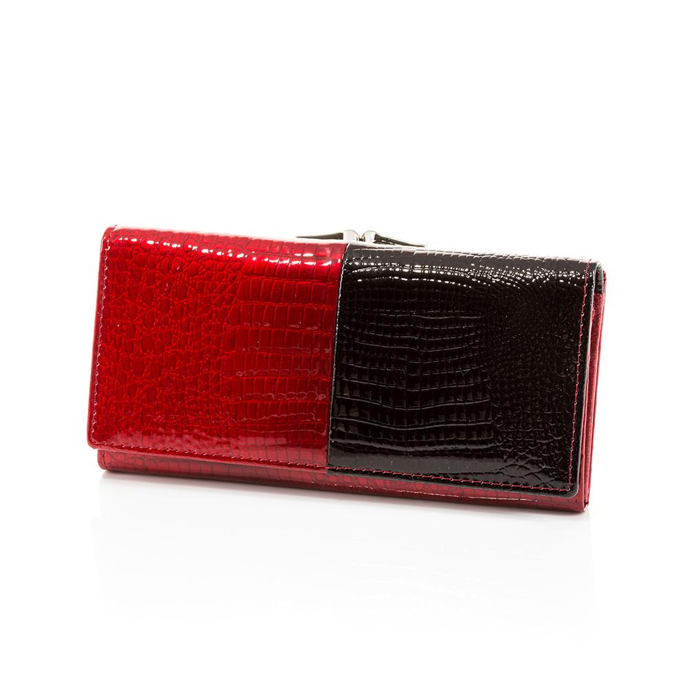 Дамско Портмоне Естествена Кожа A1029-40 - Тъмно червено