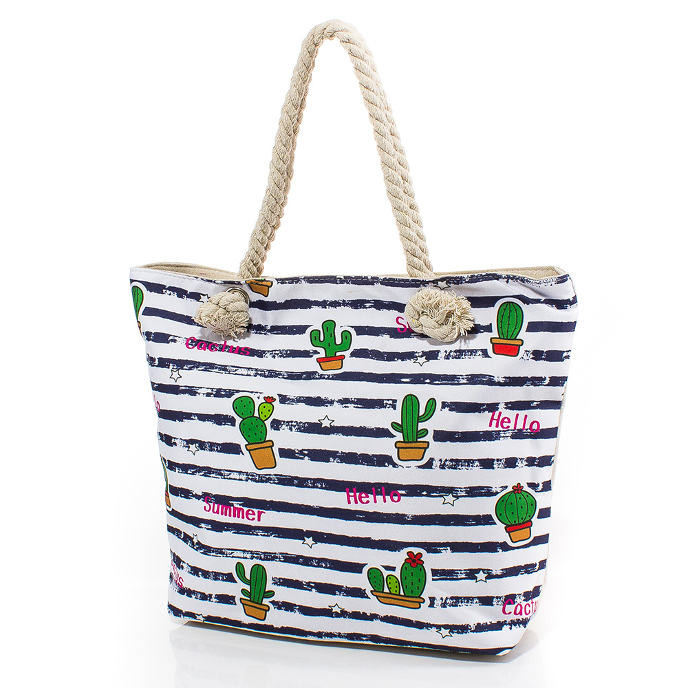 Плажна чанта 5052-01 - Бялa