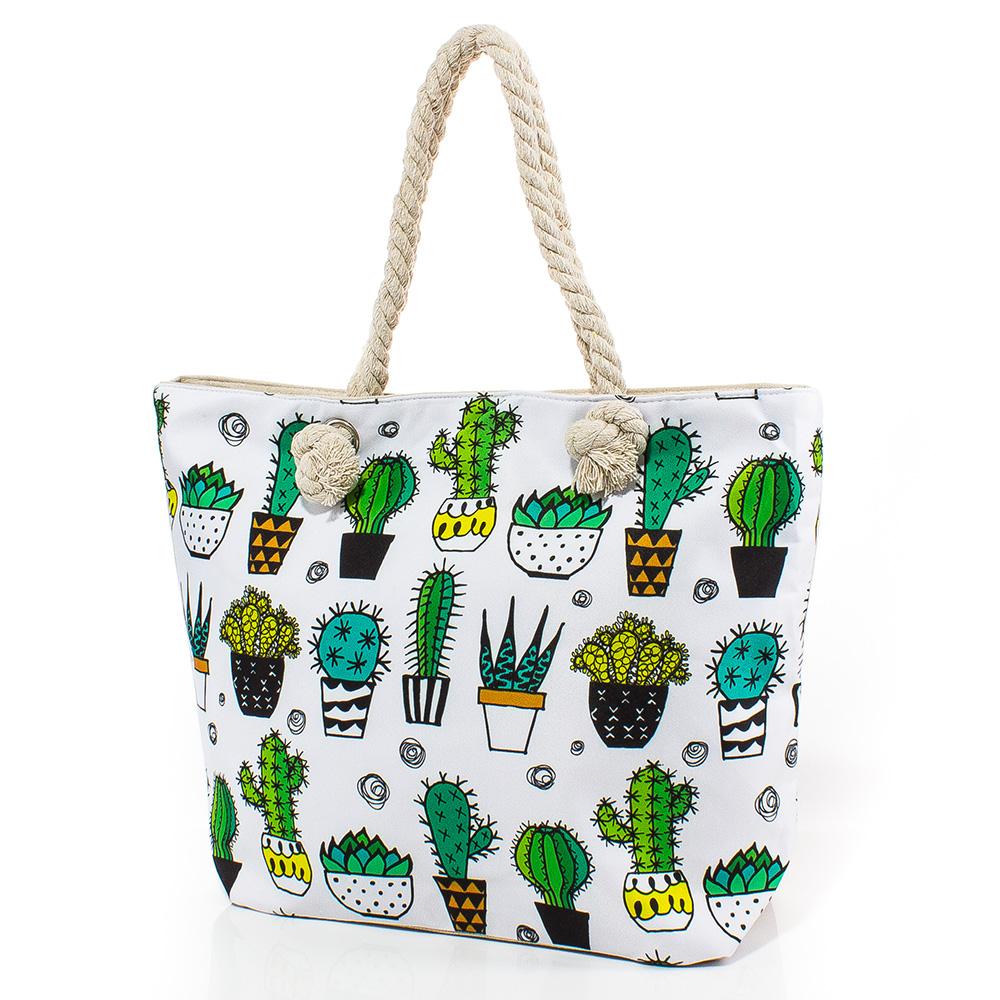 Плажна чанта 5051-01 - Бялa