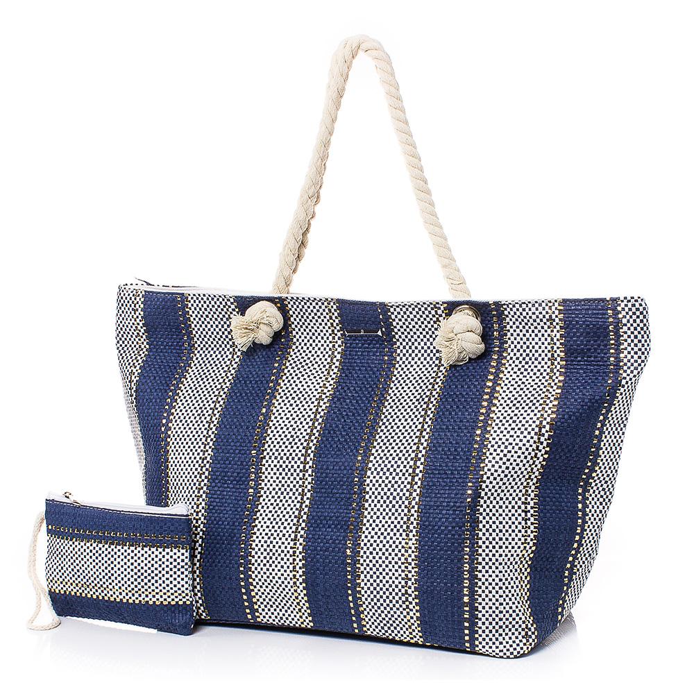 Плажна чанта с Портмоне  5070-24 - Тъмносин
