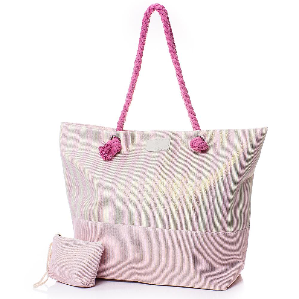 Плажна чанта с Портмоне 5071-07 - Розов