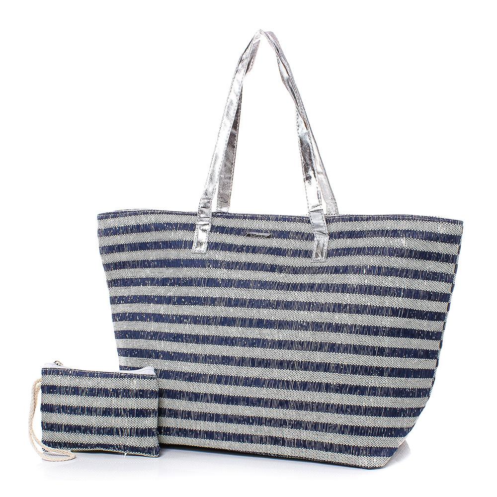 Плажна чанта с Портмоне  5074-24 - Тъмносин