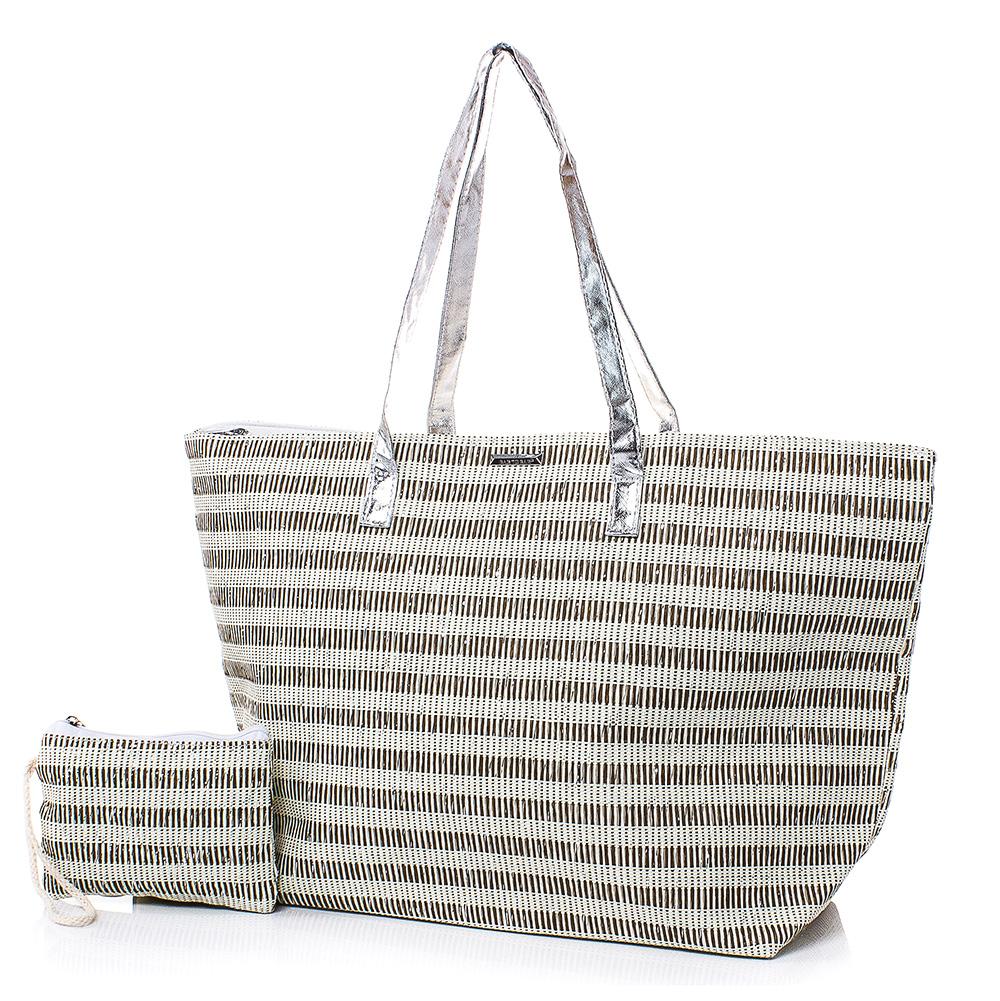Плажна чанта с Портмоне  5074-06 - Бежов