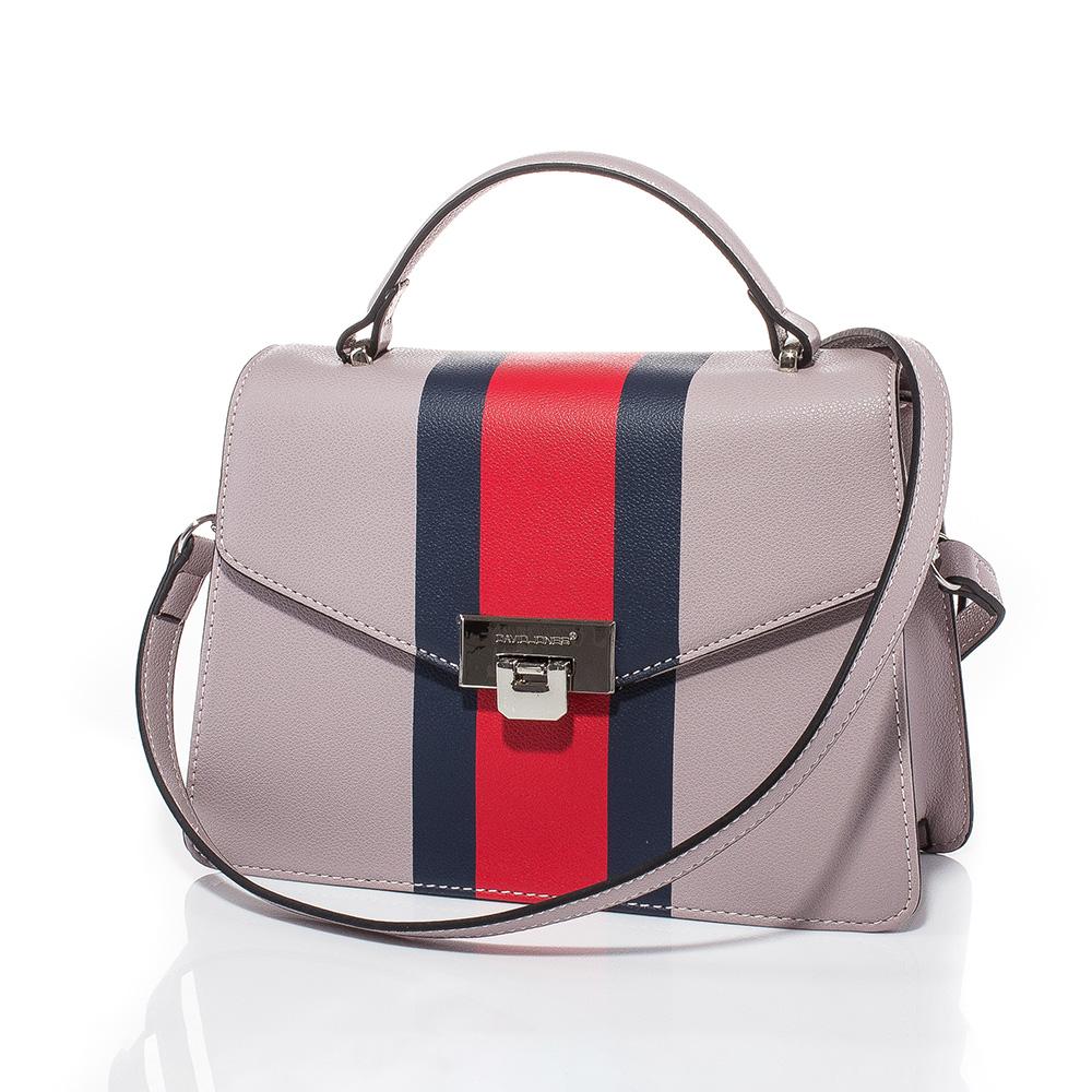 Дамска чанта през рамо David Jones 6000-155 - Бледолилава