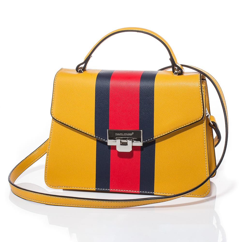 Дамска чанта през рамо David Jones 6000-149 - Горчица