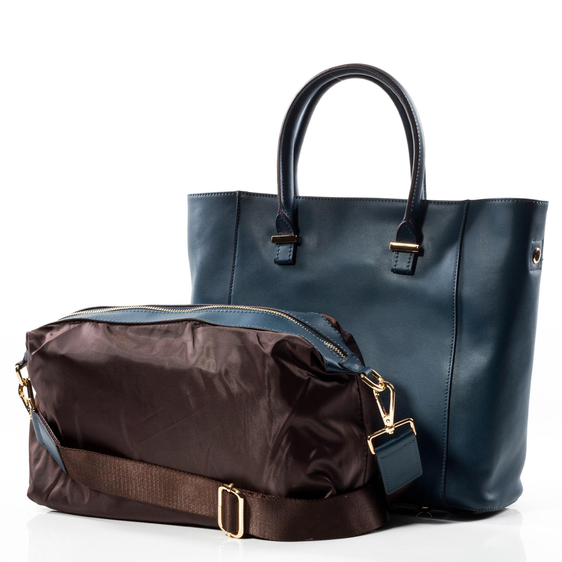Дамска Чанта 2в1 Естествена Кожа Ками - Тъмно синя
